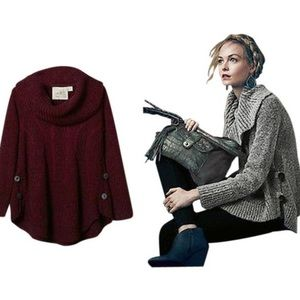 Anthro Angel of the North Boucle Cable Sweater
